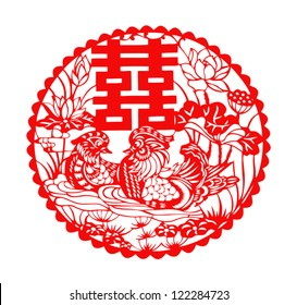 Chinese symbol of double happiness with two mandarin ducks (vector graphics)