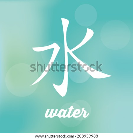 Chinese Symbol Five Elements Calligraphy Water Stock Vector Royalty