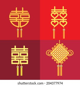 Chinese symbol knot of double happiness and marriage