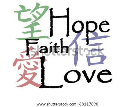 Chinese Symbols Hope Faith Love Stockvector Rechtenvrij 68117890