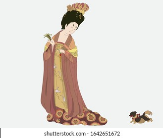 Chinese Tang Dynasty.  Beautiful Ancient Painting