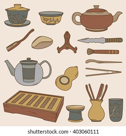 Chinese tea ceremony, hand drawn icons set. Big collection of decorative objects, illustration design. Background with elements vector