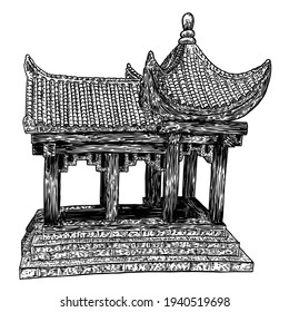 Chinese temple or Buddhist monastery. Traditional China house of worship. Classic Asian religious building and landmark. Chinese cultural and spiritual architecture. Vector.