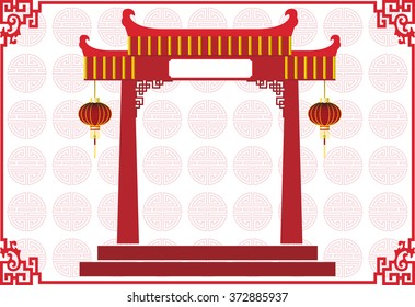 Chinese temple building with Chinese lamp and abstract Chinese new year background, texture on light pink, background vector for graphic design