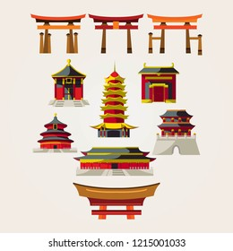 chinese temple logo design vector