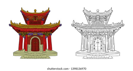 Chinese temple. Old architecture of China. Vector illustration.