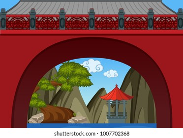 Chinese theme background with wall and pavillion illustration