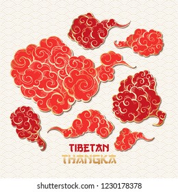 Chinese or Tibetian Golden Outline and Red Vector Clouds Collection. Asian Oriental Artistic Tangka Illustration. Paper Art Style