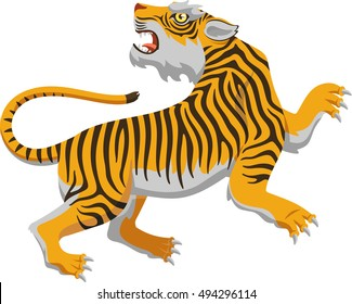 chinese tiger vector cartoon illustration