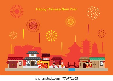 chinese town celebrate party new year 2018 background