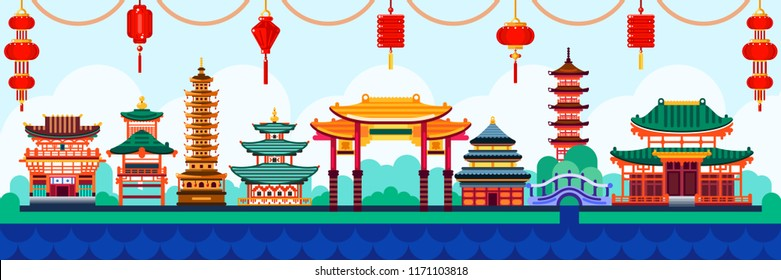 Chinese town design elements. Travel to China vector flat illustration. Traditional pagoda and lanterns background.