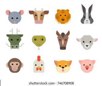Chinese traditional 12 zodiac animals faces. happy new year vector illustration flat design
