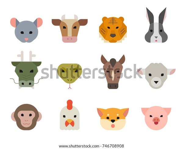 中国の伝統的な12支の動物が顔をします 新年の幸せなベクター画像イラストフラットデザイン のベクター画像素材 ロイヤリティフリー