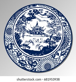 Chinese Traditional Blue And White Porcelain, A Chinese Garden