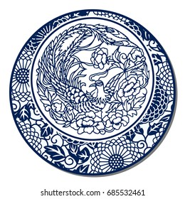 Chinese Traditional Blue And White Porcelain, Phoenix