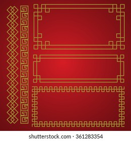 chinese traditional border and frame template. gold and red classic chinese pattern. vector illustration