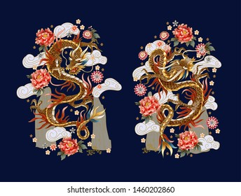 Chinese traditional dragons, peonies and sakura. vector.