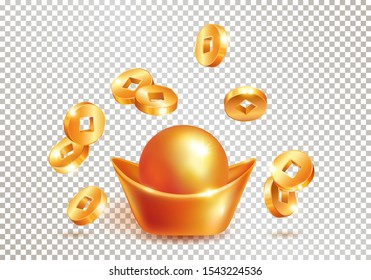 Chinese traditional golden ingot yuanbao and realistic falling gold coins isolated on transparent background. Chinese New Year. The wish of wealth, abundance and monetary luck. Vector illustration