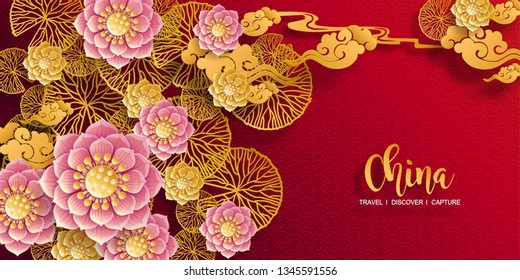 Chinese traditional and lotus, asian elements background template on paper color Background.