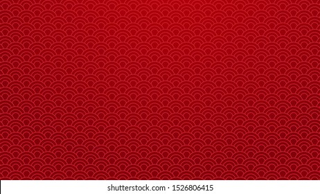 Chinese traditional oriental background. Red clouds ornament pattern on red background .Chinese new year art concept. Chinese style pattern decoration graphic. Vector illustration. 4K size wallpaper