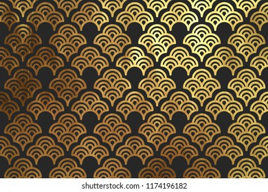 Chinese traditional oriental ornament background. Texture Asian traditional motif. Geometric shape golden and black pattern
