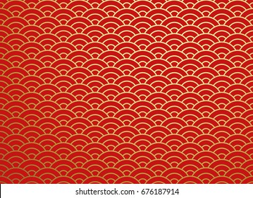 Chinese Traditional Oriental Ornament Background Red Golden Clouds Pattern Seamless