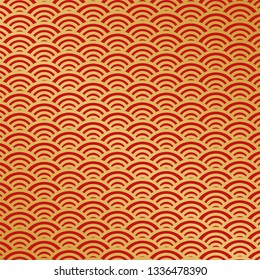 Chinese traditional ornament background, red golden clouds. Japanese vector patterns set