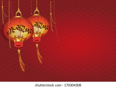 Chinese traditional red lanterns / Greeting card with an Asian New Year