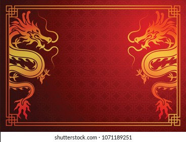 Chinese traditional template with chinese dragon on red Background