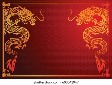 Chinese traditional template with chinese dragon on red Background,vector illustration