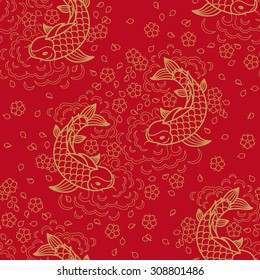 Chinese vector seamless pattern with Koi Fish
