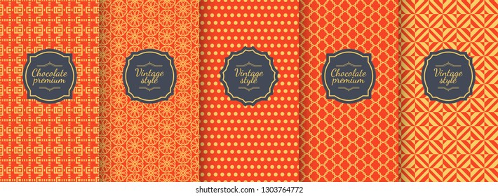 Chinese vector seamless patterns. Premium vintage backgrounds. Motifs for packaging, cosmetics, wine, chocolate, fabrics and textiles design. Abstract geometric ornament in Gold and red color.