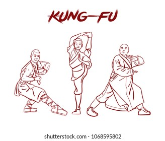 Chinese vector shaolin monk in kung fu pose, wearing an orange traditional dress with hand drawn kung fu lettering