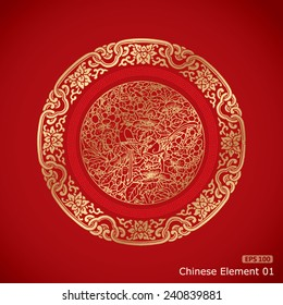 Chinese Vintage Elements on classic red background