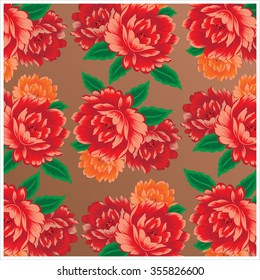 Chinese vintage peony fabric pattern