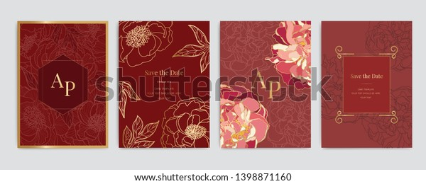 Chinese Wedding Invitation Floral Invite Thank Stock Vector