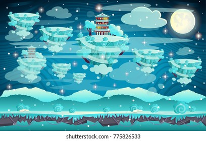 Chinese winter pagoda on a mountain. Cartoon vector illustration. Seamless background for computer games