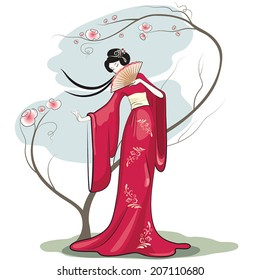 Chinese woman with hand fan