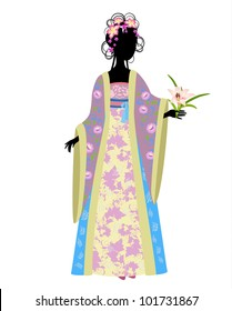 Chinese woman in traditional dress with lily