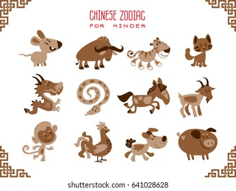 Chinese year horoscope symbols in cartoon style. Vector illustration isolated on a white background.