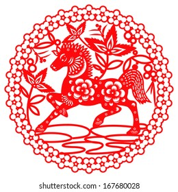 Chinese year of Horse made by traditional chinese paper cut arts / Horse year Chinese zodiac symbol