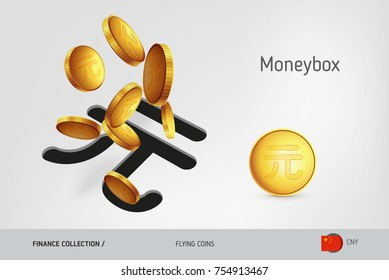Chinese Yuan coins money box with flying Chinese Yuan coins coins, finance concept. Vector illustration for print, websites, web design, mobile app, infographics.