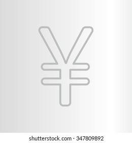 Chinese yuan (Japanese yen) line icon. Vector illustration.