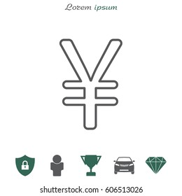 Chinese yuan (Japanese yen) line icon.