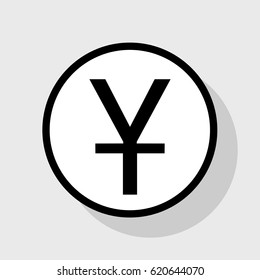 Chinese Yuan sign. Vector. Flat black icon in white circle with shadow at gray background.