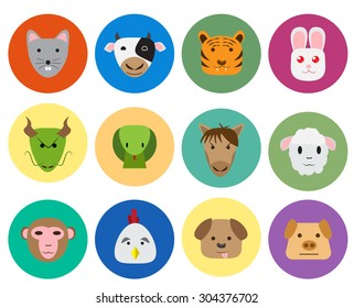 Chinese zodiac 12 animal icon in cute and simple flat style. isolated vector object.