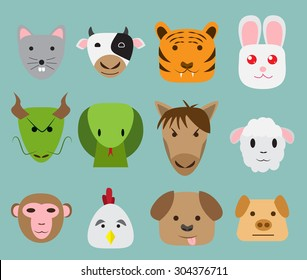 Chinese zodiac 12 animal icon in simple flat style. animal avatar.