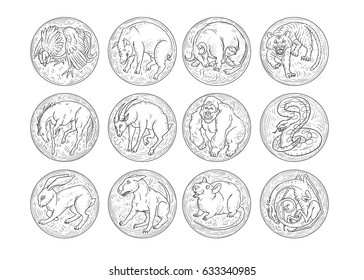 Chinese zodiac aggressive animals round icons set. Rat snake dragon pig rooster rabbit horse monkey dog tiger ox bull mouse. The sketch black and white vector illustration