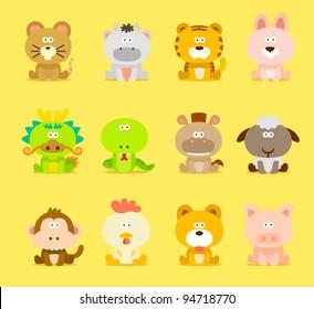 Chinese Zodiac animal ,12 animal icon set