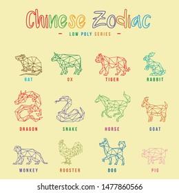 CHINESE ZODIAC ANIMALS LINE LOW POLY LOGO ICON SYMBOL SET. TRIANGLE GEOMETRIC POLYGON